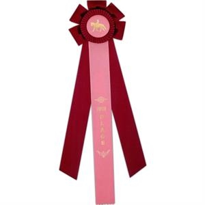 "Custom Rosette Ribbon With A 6 1/4"" Diameter Head And Three 2"" X 15"" Streamers"