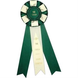 "Custom Rosette Ribbon With A 6 1/2"" Diameter Head And Three 2 1/2"" X 15"" Streamers"