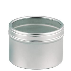 Metal Tin With Clear Plastic Window Lid