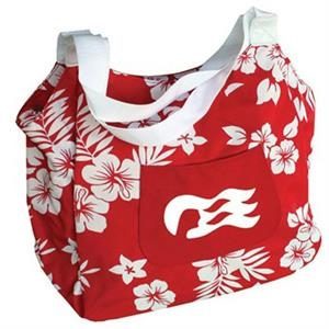 Luau - Hibiscus Print Tote Bag With Attached Coin Purse