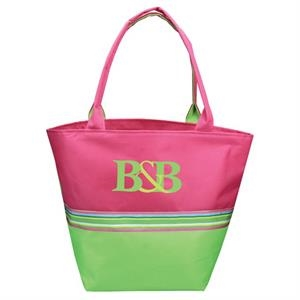 Nantucket - Tote Bag With Structured Bottom, Two Tone With Ribbon Detail