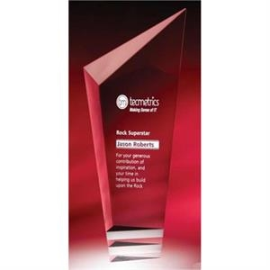 Pristine - Large - This Clear Optic And White Optic Crystal Award Is Cool And Modern