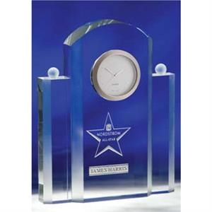 Silvertone - Optical Crystal Clock With Japanese Quartz Movement And Satin Finish Bezel