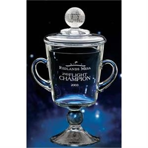 Ranier - Medium - This Cup Award Is A Mouth-blown Keepsake, Highlighted By A Crystal Golf Ball