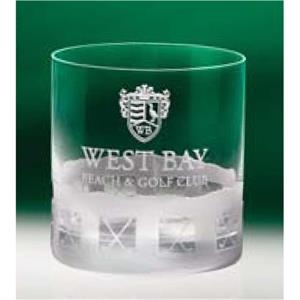 Normandy - Set Of 4 On The Rocks Glasses Features An Etched Crossed Golf Club Motif