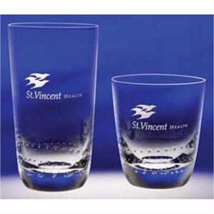 Spritz - Set Of 4 - Exclusive On The Rocks 14 Oz. Glass Features A Pattern Of Bubbles Circling Its Base