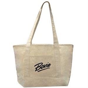 12 Oz. Small Canvas Deluxe Shopping Tote Bag With Interior Zippered Pocket