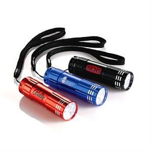Flare Garrity (r) - 9 Led Flashlight With Push Button On/off Switch, Wrist Strap And 3 Aaa Batteries