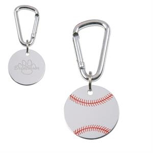Classic Military-style Baseball Dog Tag With Functional Mini-carabiner Attachment