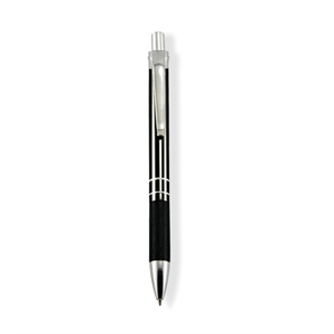 Grisham - Black - Ballpoint Pen With Aluminum Barrel, Click Action Mechanism And Etched Grip