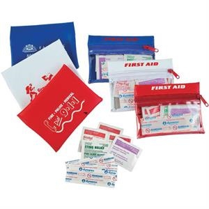 The Traveler - First Aid Kit In A Vinyl Zip Case, With Bandages, Alcohol Pads, Antiseptic Towelette