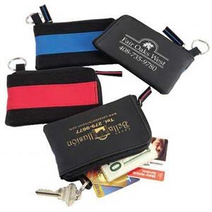 The Runway - Stylish Vinyl/nylon Zipper Wallet With Key Ring. Close-out