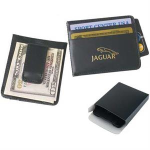 Black Money Clip Wallet In Leather With Two Credit Card Slots. Close-out