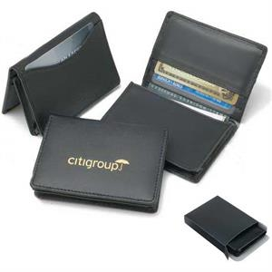 Executive - Black Leather Card Wallet With Gusset Card Pocket. Close-out