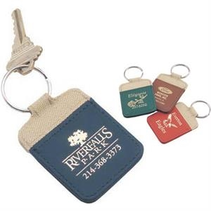 The Safari - Key Tag With Khaki Nylon Top Stitched To Suede-style Vinyl