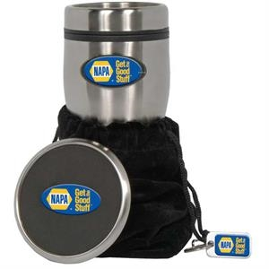 Stainless Tumbler Gift Set With Foam Coaster And Metal Key Ring