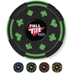 "Gambler - Catalog 5-7 Day Production - Rubber Coaster With Playing Card Design, 3 3/4"" Diameter"