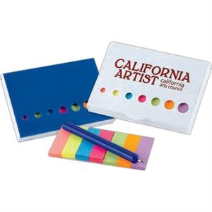 Clip-on Sticky Flags And Pen Set. Comes With Case And A Blue Pen. Imprinted