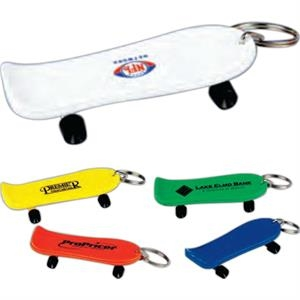 "Solid Colored 3 1/4"" Skateboard Key Chain. Imprinted"