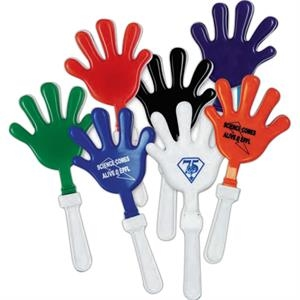 "Hand Shape 7"" Clapper With White Handle. Imprinted"