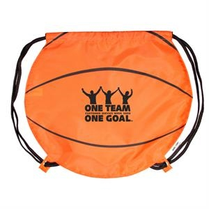 Gametime! (tm) - Classic Drawstring Cinch Bag With A Sport Twist, Basketball
