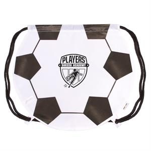 Gametime! (tm) - Classic Drawstring Cinch Bag With A Sport Twist Soccer Ball