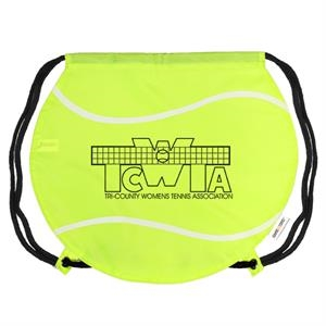 Gametime! (tm) - Classic Drawstring Cinch Bag With A Sport Twist, Tennis Ball