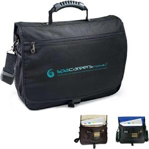 Courier - 600d Polyester Briefcase With Rubber Tough-grip Carry Handle