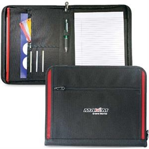Recruit - Letter Size Zippered Padfolio With Contrasting Accent Trim. Closeout!
