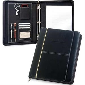 "Manager - Letter Size Black Zippered Padfolio With 1.75"" 3-ring Binder"