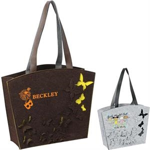 Butterfly - 3mm Felt Tote Bag With A Wide Mouth And Open Compartment, Handle 22""