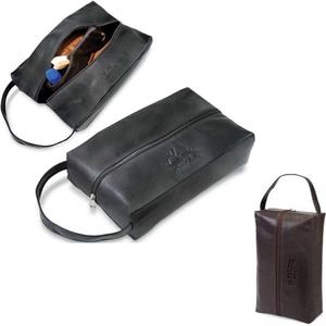 Koskin Collection - Golf Shoe Bag With Zippered Main Compartment, Plush Lining And Zippered Divider