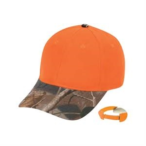 Flame Orange Cap With Oak Camo Bill, 6 Panel
