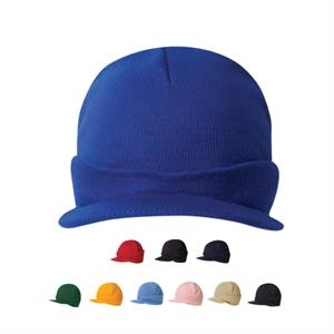 Knit Beanie Cap With Short Visor