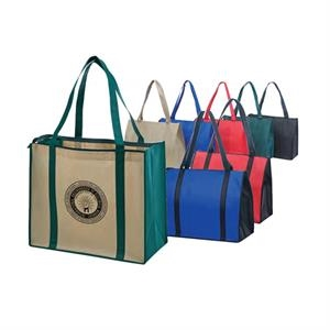 Eco-friendly Collection - Non-woven Tote With Zipper, Fabric Covered Bottom