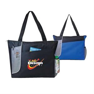 Poly Zippered Tote Bag With Heavy Vinyl Backing