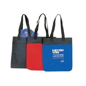 "600 Denier Polyester Tote Bag With Heavy Vinyl Backing, 14"" X 15 1/2"" X 1 1/4"""