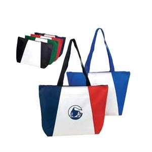 "Polyester Zippered Tote Bag With Heavy Vinyl Backing, 19"" X 13 1/2"" X 4 1/2"""