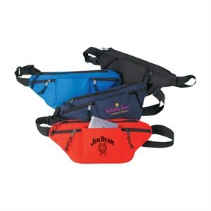 "Polyester Four-zipper Fanny Pack With Heavy Vinyl Backing, 14"" X 7"" X 3"""