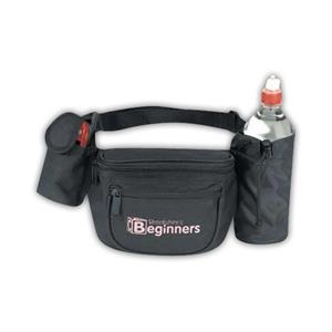 Black - Polyester 600 Denier Fanny Pack With Bottle Holder And Cellular Phone Pouch