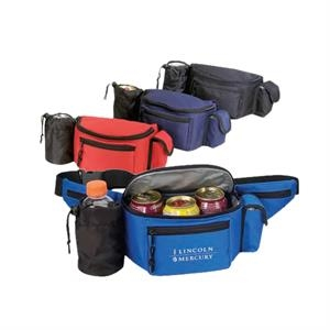 Polyester 600 Denier Cooler Fanny Pack With Bottle Holder And Cell Phone Pouch