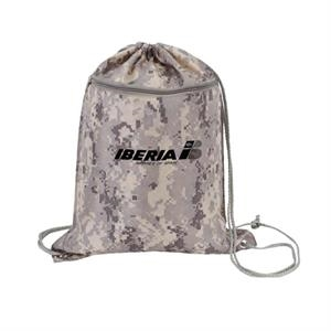 Digital Camo Drawstring Tote Bag With Zipper, Polyester With Polyurethane Coating