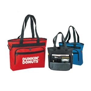 "Polyester Zippered Tote Bag With Briefcase And Heavy Vinyl Backing, 16"" X 14"" X 5"""