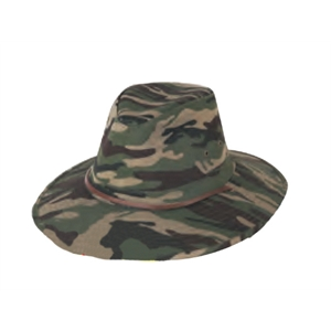"Men's Camo Twill Hat, Large 3"" Heavy Weight Hard Brim With Leather Cord"