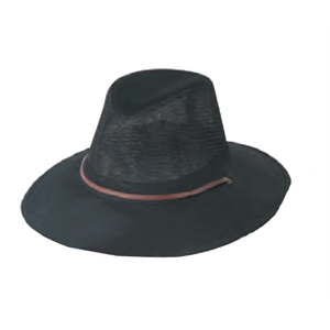 "Men's Twill Mesh Hat With Large 3"" Heavy Weight Hard Brim And Leather Cord"