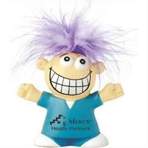 Medical Designed Stress Reliever With Feather Hair And Goofy Smile