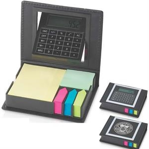 Rotating Calculator, And Note Pad Set With Flags