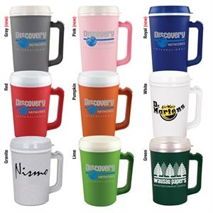 Sale 5-7 Day Production - 22 Oz. Double Wall Insulated Mug With Ribbed Thumb Stabilizer On Handle