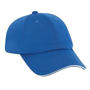 Polyester Cool Mesh Six Panel, Low Profile Pro Style Cap With Sandwich Visor. Blank