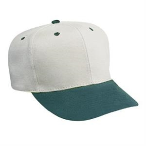 Brushed Bull Two-tone Pro Style 100% Cotton Denim Six Panel Cap. Blank